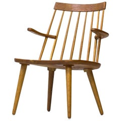 """Scandinavian Modern Easy Chair """"Sibbo"""" in Solid Oak by Yngve Ekström, Sweden"""