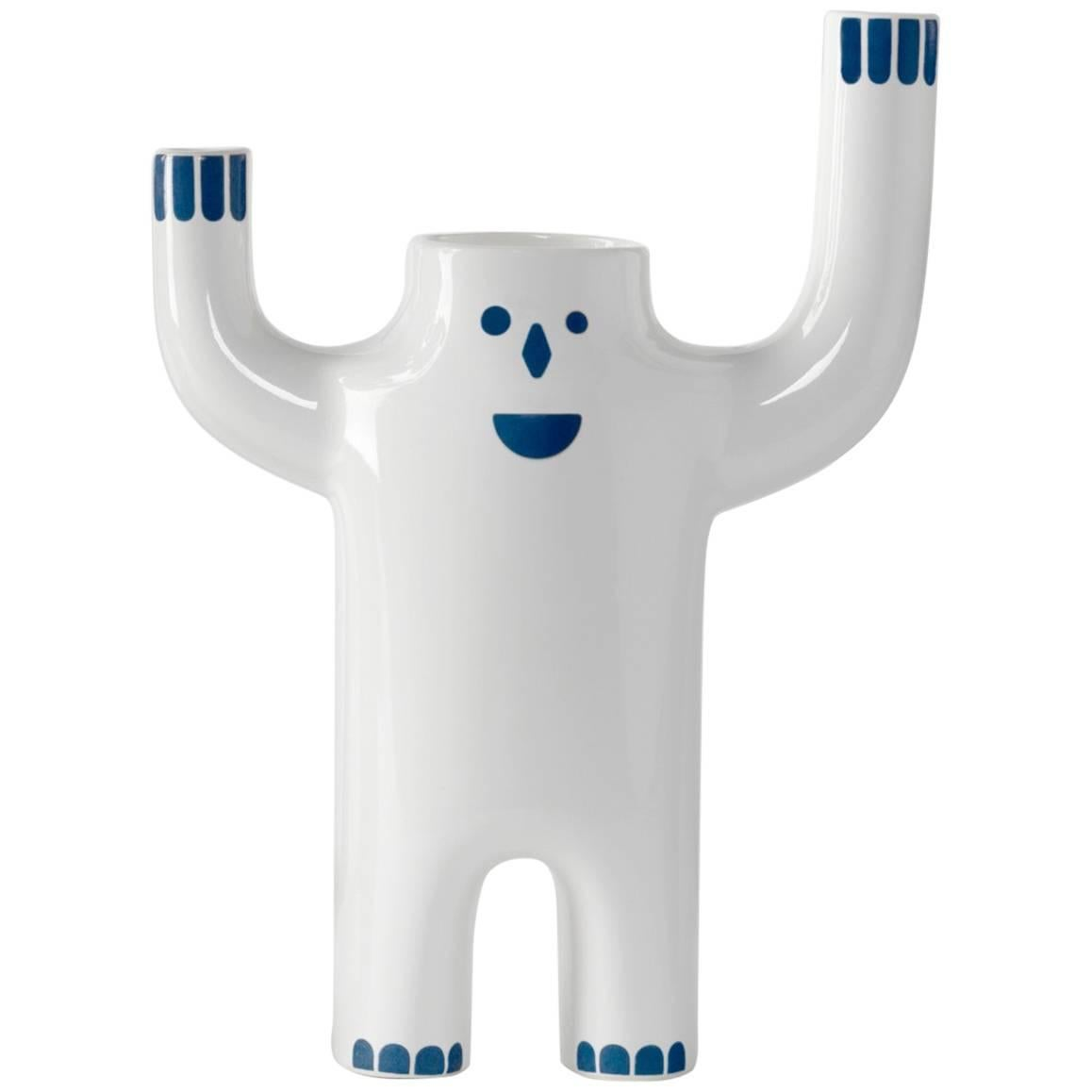 Flower Vase in white with a face designed by Jaime Hayon model Happy Susto small