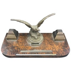 Art Deco Wood and Brass Italian Inkstand, circa 1930