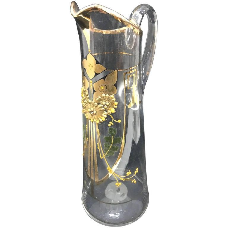 Italian Art Nouveau Glass Jug, circa 1900 For Sale