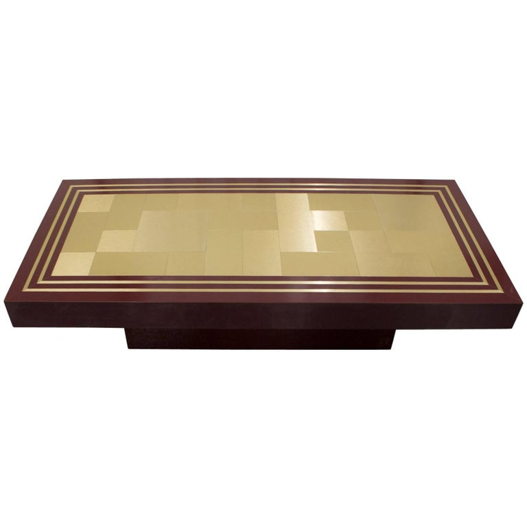 Burgundy formica coffee table with gold plated inlay from unknown belgian design for sale at 1stdibs Formica coffee table