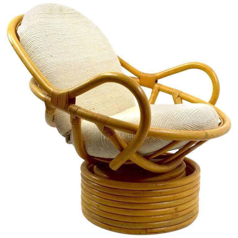 Gentil Bamboo Swivel Tilt Lounge Chair For Sale