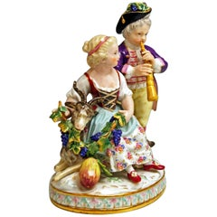 Meissen Boy Girl Allegory Fall Autumn Model G 93 by J.C. Schoenheit, circa 1860