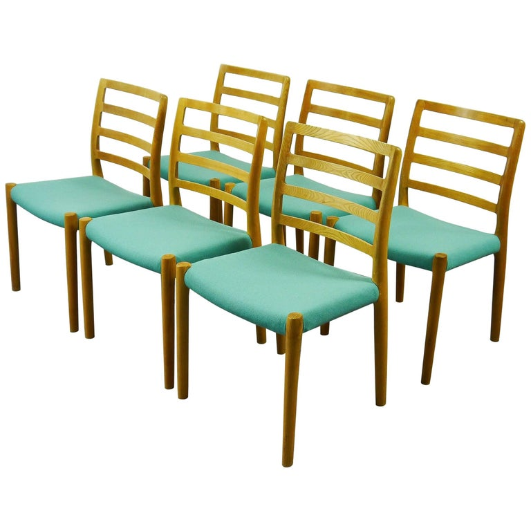 Set of Six Niels O Møller Chairs No 85 in Oak with Turquoise Seats Danish Modern