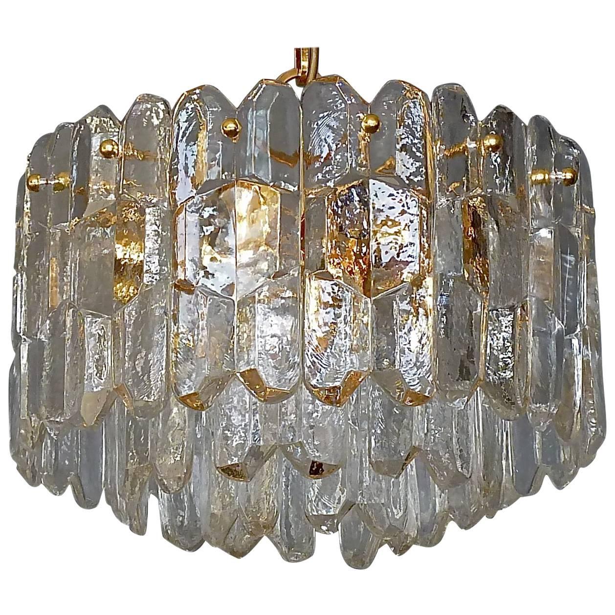 """Signed J.T. Kalmar """"Palazzo"""" Gilt Brass Textured Glass Chandelier, Austria 1970s"""