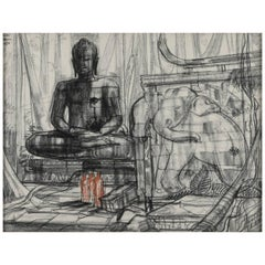 "Drawing ""Monumental Buddha and Elephant in a Temple"" by André Maire, 1956"