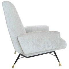 Italian Silver White Velvet and Brass Armchair, Reupholstered, 1950s