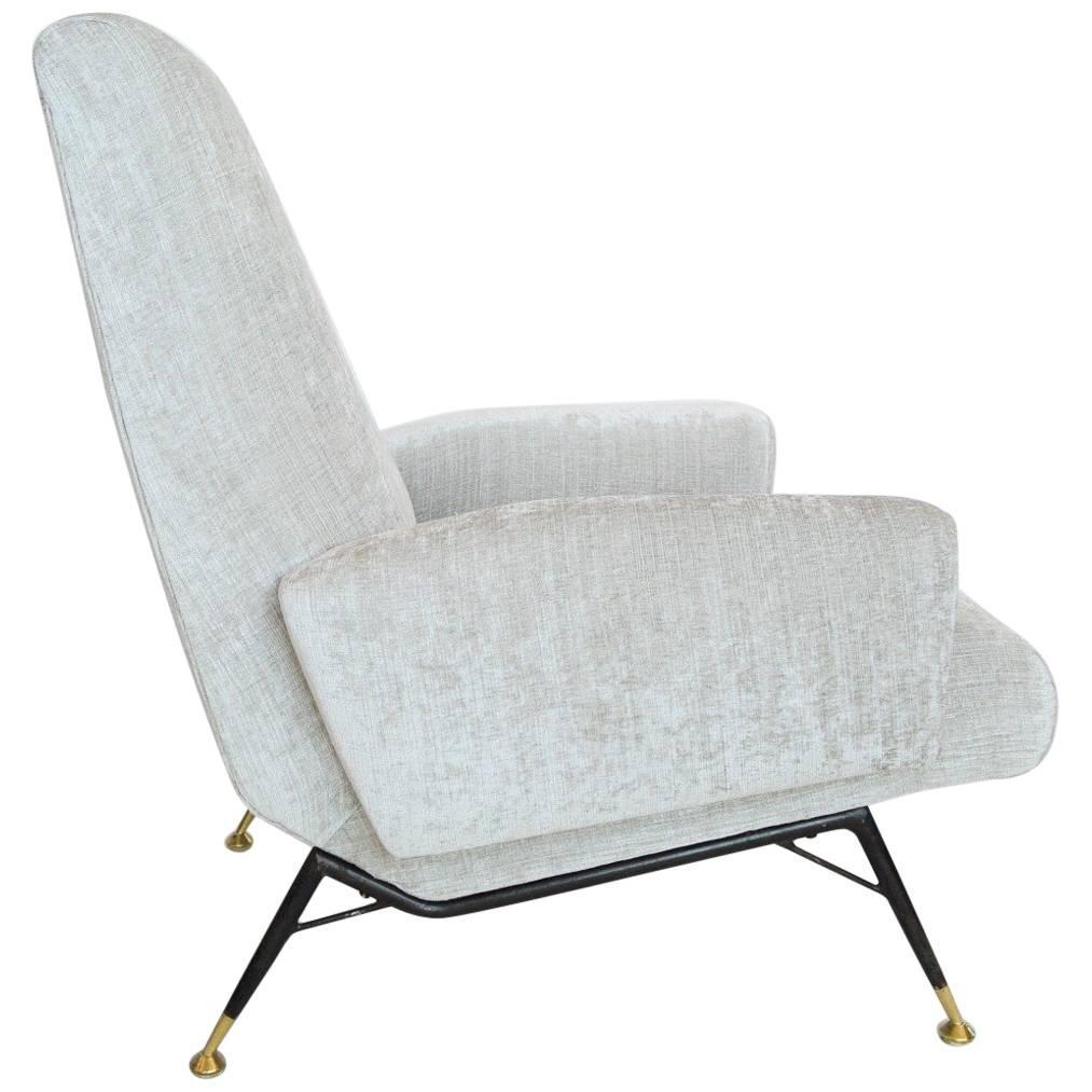 Italian Silver White Velvet And Brass Armchair, Reupholstered, 1950s 1