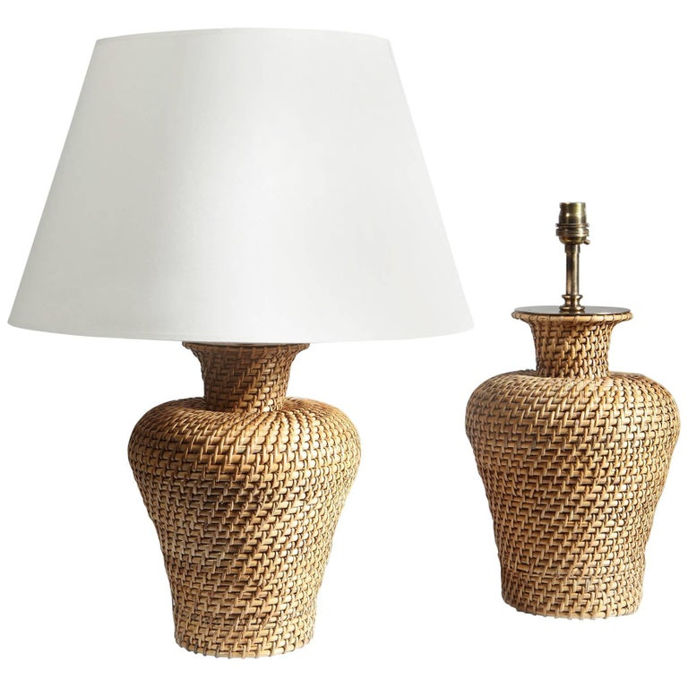 Pair of Baluster Rattan Lamps