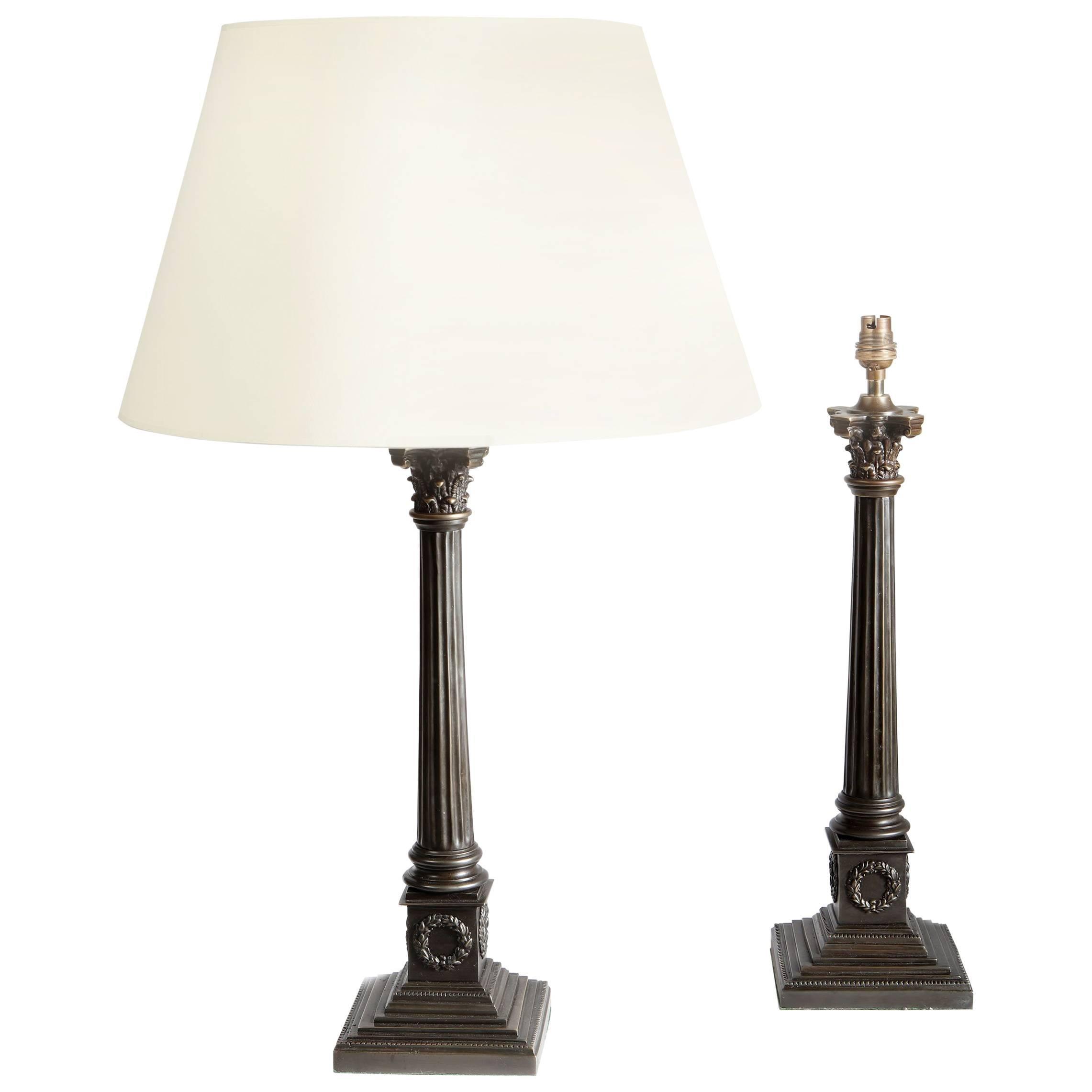 Pair of Bronze Column Lamps