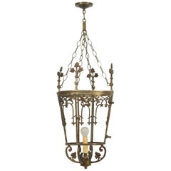 Antique French Solid Bronze Lantern
