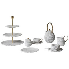 Victoria Tea Set in Marble and Brass, Design Bethan Gray for Editions Milano