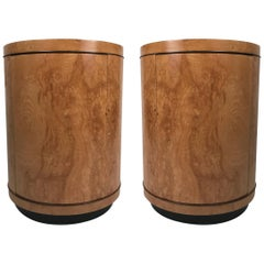 Wonderful Olive Ash Burled Circular End Tables
