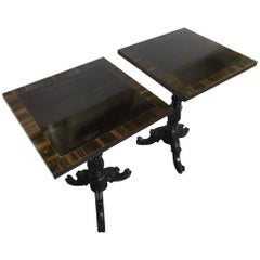 Pair of Solid and Macassar Ebony Lamp Tables