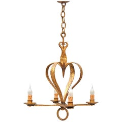 Gold Colored Heart Shaped Chandelier, Mid-20th Century