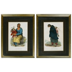 Pair of Antique Chippeway Prints of Charles Bird King, McKenney & Hall