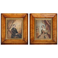 Pair of English School Watercolor Portrait Paintings, Bird's-Eye Maple Frames
