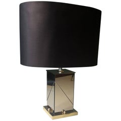 20th Century Italian Table Lamp by Romeo Rega Made of Mirror and Brass, 1970s