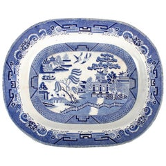 Enormous Staffordshire Blue Willow Platter with Stand, Early 19th Century