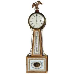 """Federal Style Mahogany Banjo Wall Clock """"Willard's Patent"""", Floral Motif"""