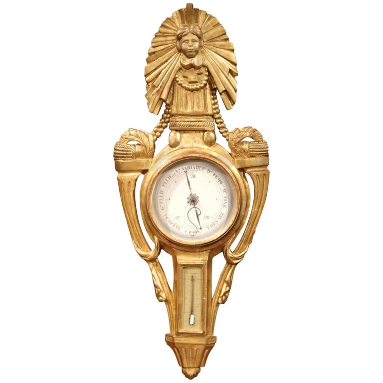 18th Century French Louis XVI Carved Giltwood Wall Barometer