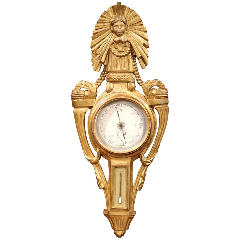 Mid-18th Century French Louis XVI Carved Giltwood Wall Barometer with Sun Decor For Sale