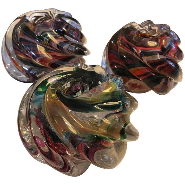 Set of Three Murano Glass Votive Candleholders