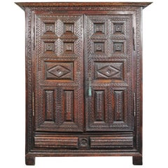 Exceptional Carved Cabinet, 17th Century