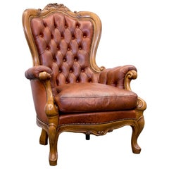 Chesterfield Armchair Leather Brown One Seat Wood Barock Vintage Retro