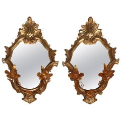 Pair of Italian Rococo Style Giltwood and Copper Mirrored Candle Sconces