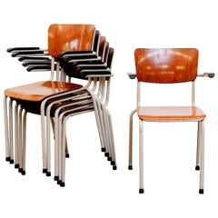 Gispen Stacking Plywood Armchairs with Bakelite Arm Rests