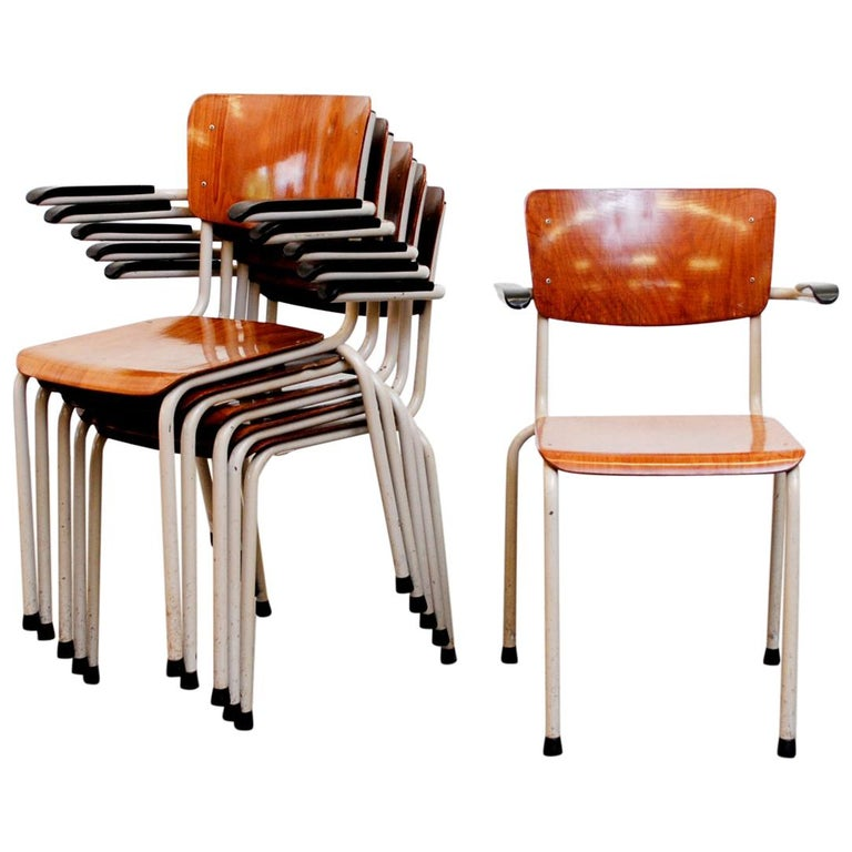 Gispen Stacking Plywood Armchairs with Bakelite Arm Rests For Sale