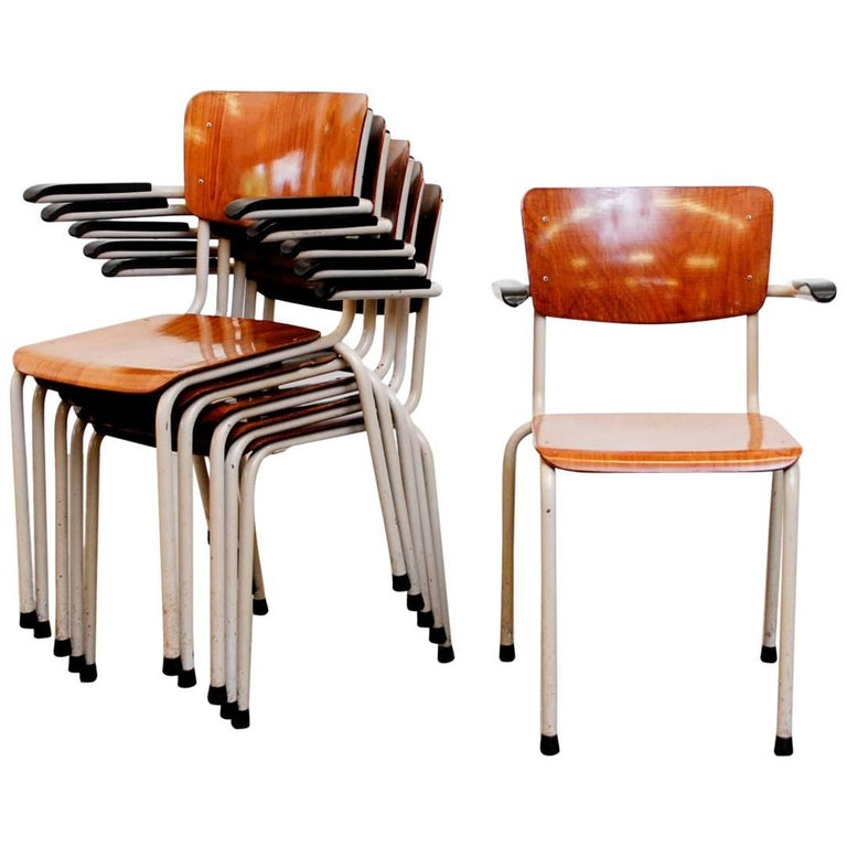Gispen Stacking Plywood Armchairs with Bakelite Armrests