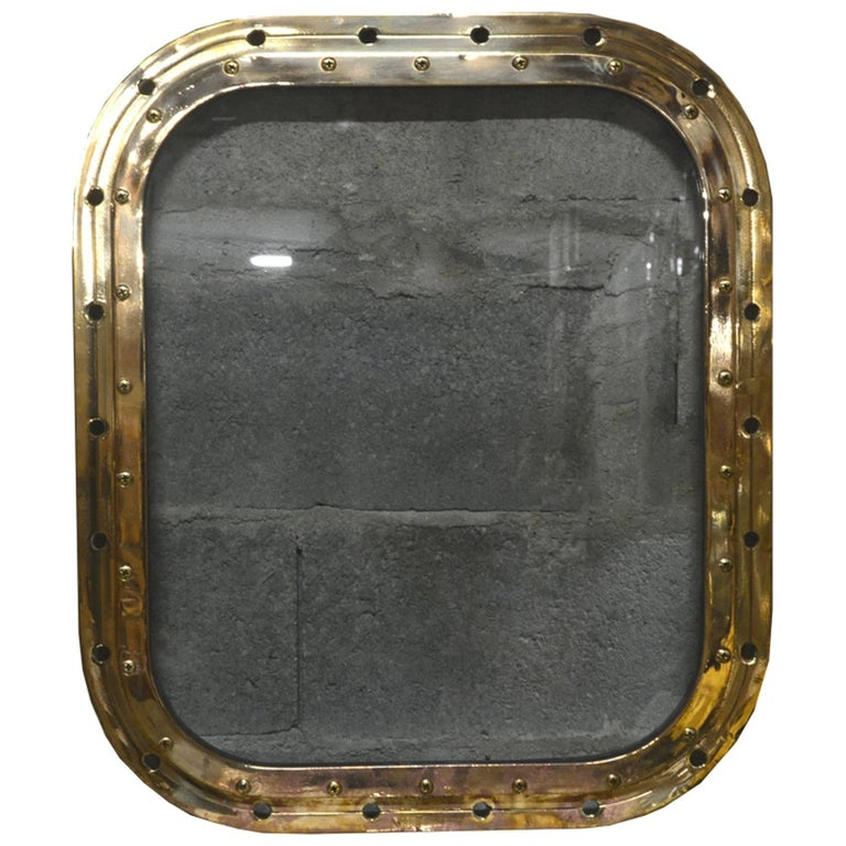 Bronze Rectangular Ship's Porthole For Sale