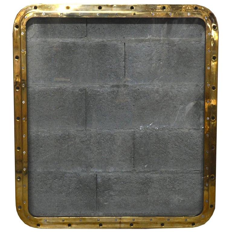 Bronze Rectangular Ship's Porthole For Sale
