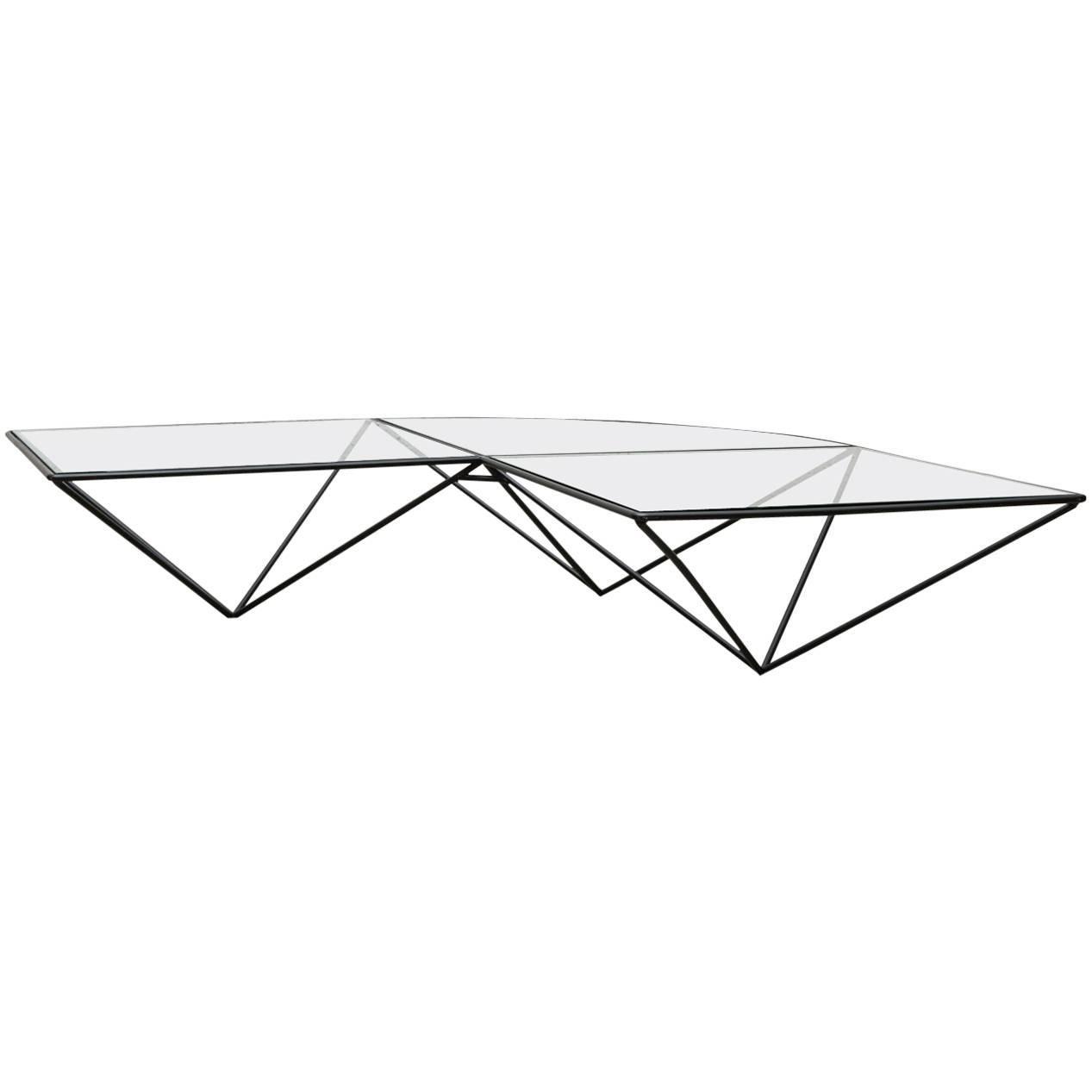 Paolo Piva Style Black Wire Corner Coffee Table