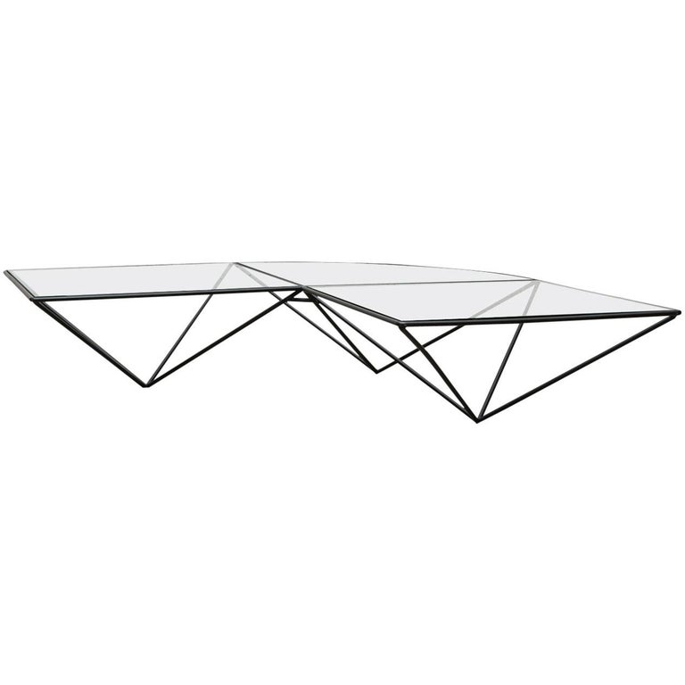 Paolo Piva Style Black Wire Corner Coffee Table