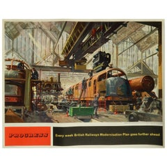 British Railway Poster, Original Vintage Lithograph, 1957-1958 by Terence Cuneo