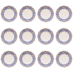 12 Antique Dessert Plates, Blue with Roses, Custom Ordered Marshall Fields