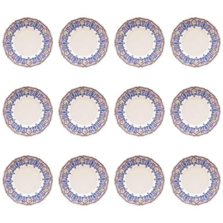 Marshall Fields Furniture: 12 Antique Dessert Plates, Blue With Roses, Custom Ordered