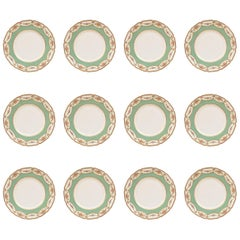 12 Antique Dinner Plates, Royal Doulton England, Nice Shape, Soft Green & Gilt