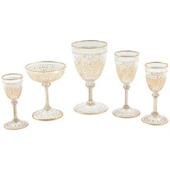 Extensive & Elaborate Gilt Crystal Stemware Service, Antique 19th Century 56 Pcs