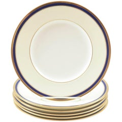 Six Minton England Cobalt Blue and Gold Salad and or Dessert Plates, Antique