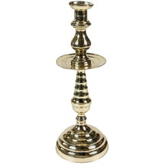 Large Brass Candleholder with Beehive Detail
