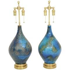 Pair of Volcanic Glazed Ceramic Lamps