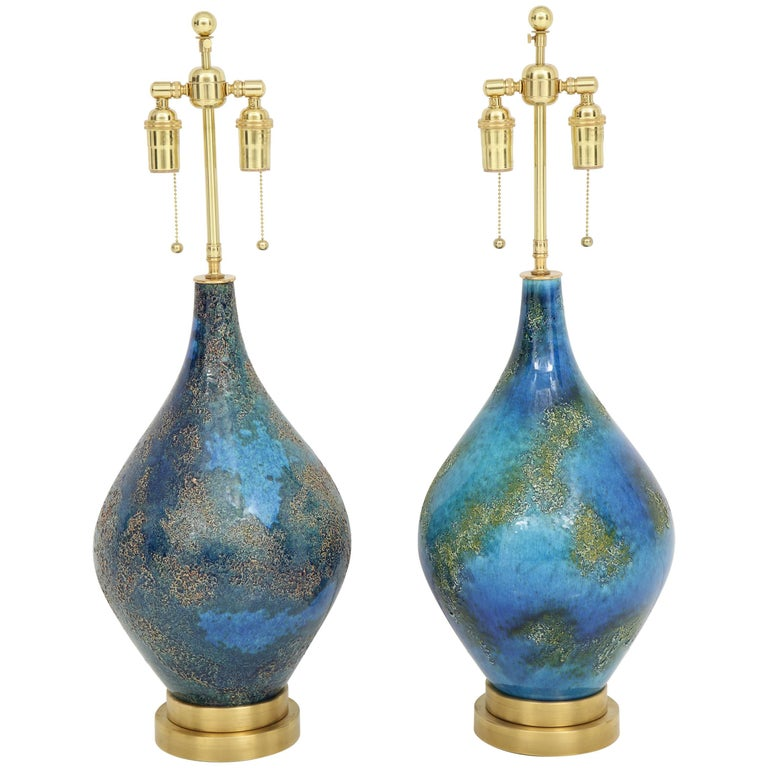 Pair of Volcanic Glazed Ceramic Lamps For Sale