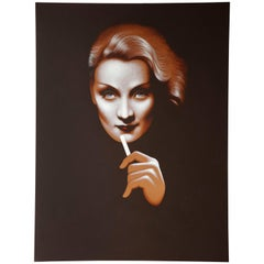 Dietrich with Cigarette Original Painting by Lynn Curlee