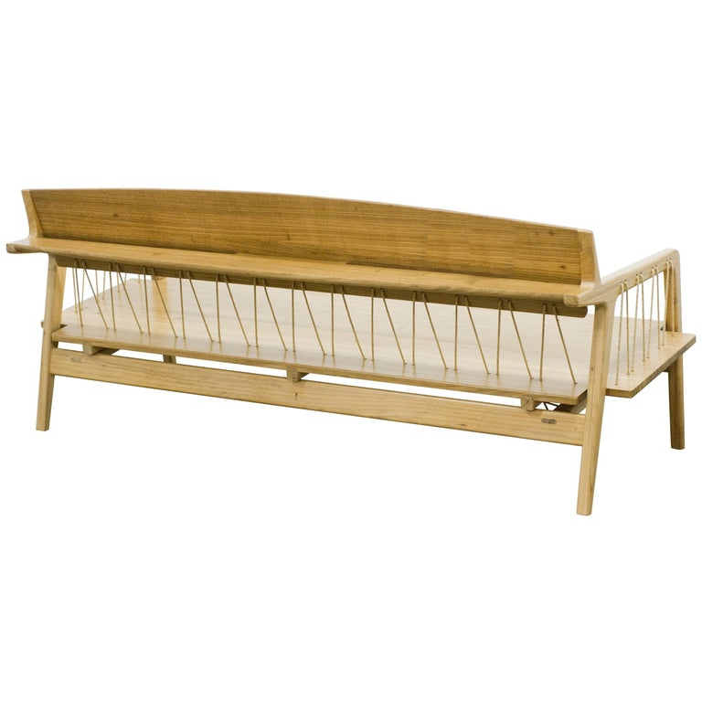 Contemporary Bench in Tropical Hardwood and Cord by Ricardo Graham Ferreira