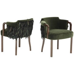 Austrian Mohair/Feather Art Deco Salon Chairs