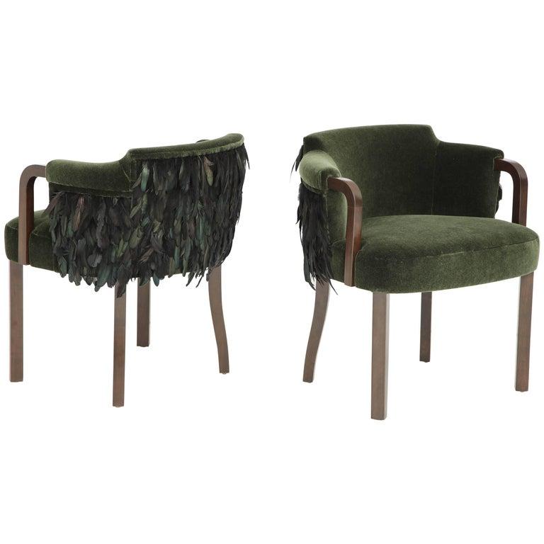 Austrian Mohair/Feather Art Deco Salon Chairs For Sale